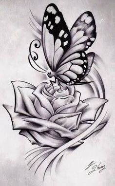 Image result for black rose and butterfly tattoo