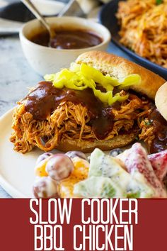 Low Unwanted Fat Cooking For Weightloss This Slow Cooker Bbq Chicken Is Full Of Sweet And Smokey Flavor With A Little Heat. It Will Quickly Become Your Go-To Recipe For Bbq Chicken Pulled Chicken Recipes, Bbq Chicken, Side Recipes, Crockpot Recipes, Cooking Recipes, Slow Cooker Bbq, Pressure Cooker Recipes, Pork And Beef Recipe, Crock Pot Cooking