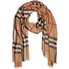 BURBERRY LONDON Camel Giant Check Wool-Silk Gauze Scarf ($340) ❤ liked on Polyvore featuring accessories, scarves, burberry, accessories - scarves, gauze scarves, wool shawl, pure silk scarves, silk shawl and silk scarves