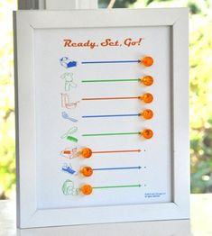 Chore Chart I think this would be great if the line is string, ribbon, or yarn...and then slide a bead across. Would be safer for small kiddos!