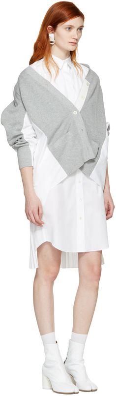 Sacai: Grey Knit Cotton Cardigan | SSENSE