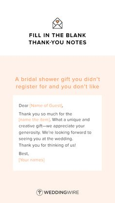 check out our easy to read fill in the blank wedding thank you note examples which will save you a ton of time