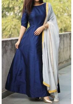 Denim Blue Silk Anarkali