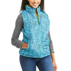 Women's Lightweight Puffer Vests with Contrast Lining, Size: Small, Blue