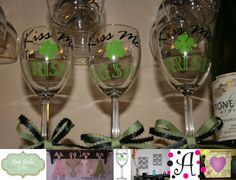**ONLY 2 LEFT** Kiss Me I'm Irish St Patrick's Day Wine Glass & by artebellagifts, $10.00
