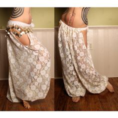 Tribal Belly Dance Harem Pants Cream Gold Lace cut by CrudeThings Tribal Fusion, Belly Dance Makeup, Mardi Gras, Tribal Looks, Dance Outfits, Dancing Outfit, Tribal Belly Dance, Ballroom Dance Dresses, Belly Dance Costumes