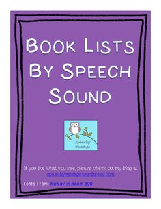 Books by Speech Sound HandoutsFreebie - Pinned by @PediaStaff – Please Visit http://ht.ly/63sNt for all our pediatric therapy pins