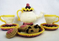 CROCHET PATTERN Mrs. Potts Tea and Cookies (Permission to sell finished items) Instant Download