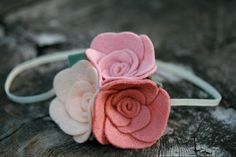 Felt Flower Headband  Pinks and Creams  by LittleBloomsHandmade, $10.00