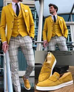 Kingston Yellow Slim Fit Suit is part of Suits - Available Size 464850525456 Suit material Cotton , Linen Machine washable No Fitting slimfit Cutting double slits, cover pocket, double button Remarks Dry Cleaner Mens Suit Accessories, Formal Men Outfit, Slim Fit Suits, Designer Suits For Men, Men's Suits, Dapper Suits, Groom Suits, Groom Attire, Herren Outfit