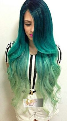Green ombre dip dyed hair