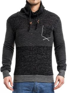 K&D Men Stylish Mock Turtle Neck Pocket Sweater - Black