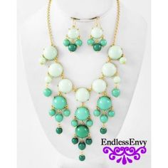 Green & Mint Bubble Necklace & Earrings - This classic stylish Green  Mint Bubble Necklace & Earrings  will brighten up any dress or outfit!! You will be the envy of all your friends with this classic style Green  Mint Necklace. Style Envy into Endless Envy #Bubble #Green #Mint #Necklace #Fashion #Style