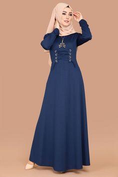 ** YENİ ÜRÜN ** Bağcık Detay Tesettür Elbise İndigo Ürün Kodu: PRM3039 --> 54.90 TL