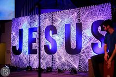 7' by 15' Jesus String Art. Church stage decorations. www.lsufirstservice.org More
