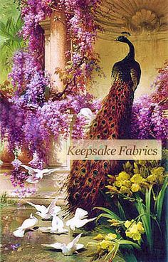 Peacock Doves Lilacs Garden Multi Sizes Quilt Block FrEE ShiPPinG WoRld WiDE