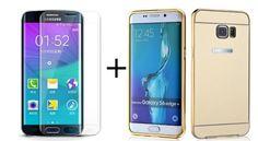Coque samsung galaxy S6 Edge et vitre en verre trempé Samsung S6 edge, Aluminium Etui métal housse miroir coque ultra-fine + vitre en verre trempé courbé haute résistance