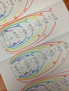 Teaching your children about equivalent fractions? Try Equivalent Fraction Rainbows! Fractions Équivalentes, Teaching Fractions, Teaching Math, 4th Grade Fractions, Dividing Fractions, Fun Math, Math Games, Math Activities, Math Math