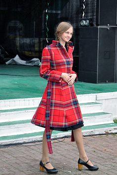 red tartan coat