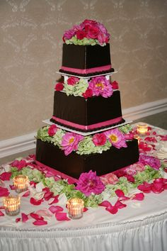 Wedding Cake - Chocolate with Pink Floral Detailing