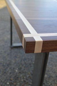 Desk Solid Black Walnut With Maple Inlay Steel Legs