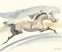 "Horse Art Painting, Abstract Background, Original Watercolor by Anna Noelle Rockwell-Hunter, Jumper, ""Strides and Tides"""