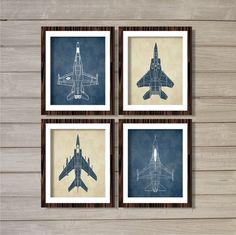 Airplanes (Set of 4) 8x10- Cream Navy Vintage Planes Nursery Boys Room Decor Transportation Aviation Instant Download Digital Printable Art
