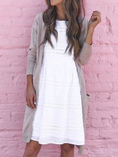 Long Cardigan Outfit Ideas for Early Spring - DIY Darlin' Cardigan Outfit Summer, Cardigan Outfits, Dress With Cardigan, Cute Church Outfits, Cute Comfy Outfits, Sunday Outfits, Spring Outfits, Simple Wardrobe, Modest Fashion