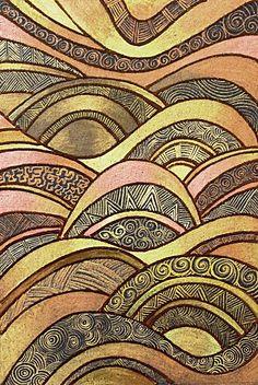 Golden Brown Waves  © Angela Porter  artwyrd.deviantart.com  8cm x 12cm  Brown Sakura Glaze pen used for outlines, patterns filled with Derwent metallic pencils and Cosmic Shimmer iridescent watercolours.