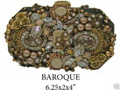 Mary Frances Baroque Gold Black Crystal Clutch Convertable Handbag Purse NWT