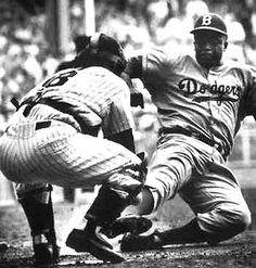 Dodgers beat the Yankees---Finally ....Jackie Robinson stealing home in the 1955 World Series !!