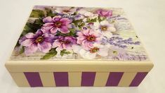Another interesting box with stripes. This time we worked with beige and purple color. A box that can be for jewelery, for a gift to you a dear person. Diy Decoupage Crafts, Decoupage Box, Diy Box, Rice Paper, Decorative Boxes, Arts And Crafts, Stripes, Make It Yourself, Cat Art