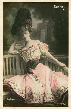 Vintage French hand tinted photo postcard  by SistersScrapbooking