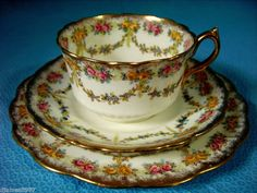 Redfern & Drakeford GILDED FLORAL TRIO c1909 Cup Saucer Plate Excellent Cond