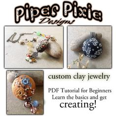 Polymer Clay Appliqué Polymer Clay Embroidery PDF Tutorial for beginners instruction step by step learn the basics