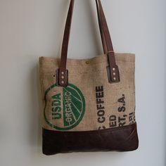 Reclaimed Coffee Burlap Tote Bag by Stitch & Rivet. Made of reclaimed burlap coffee sacks from Zeke's Coffee in DC.
