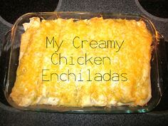 Okay guys, these are my FAVORITE homemade chicken enchiladas. They are creamy and delicious, and best of all they take 30 minutes from start to finish...including baking time! Perfect weeknight meal.