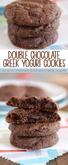 These delicious double chocolate Greek yogurt cookies (made with whole wheat flour, no less) are sure to cure your cookie craving!