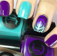 Stamping nail art using Cirque Colors polish in purple & turquoise