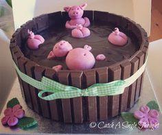 Piggies swimming in mud cake