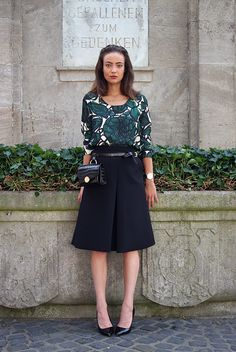 spring / summer - street style - street chic style - summer outfits - casual outfits - business casual - office wear - work outfits - floral print blouse + black midi skirt + black stilettos + black bum bag