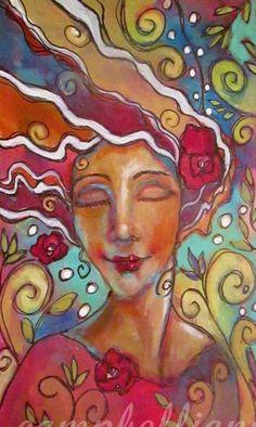 Original Painting Portrait Woman Drawing Doodle Folk Art Mini Zentangle Roses #ModernFolkArt