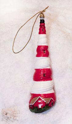 Hand Painted Seashells   Assateague Lighthouse Hand Painted Seashell Ornament