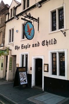 Oxford  The Eagle And Child       The Eagle and Child, on the broad boulevard of St. Giles, is a cozy pub but has gained celeb status given that it's where Tolkien and C.S. Lewis would meet on Tuesdays. Also of literary note is the Lamb & Flag across the road, where Graham Greene liked to drink. It's worth swigging a pint of ale at the Turf Tavern, too; it looks like something straight out of Chaucer ...