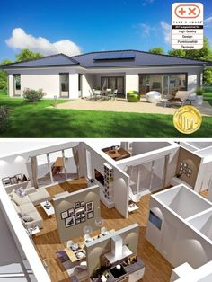 Modern bungalow with hipped roof Architecture & floor plan in Uform with open kitchen - House bu Modern Bungalow House, Modern Tiny House, Bungalows, Modern Garage Doors, 4 Bedroom House Plans, Architectural House Plans, Prefabricated Houses, Hip Roof, Roof Architecture