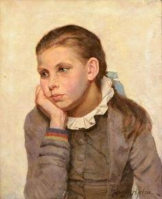 Fanny Elisabeth Wilhelmina Hjelm (Swedish artist) 1858 - 1944 Flicka i Tankar (Girl in Thoughts),