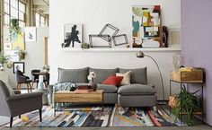 West Elm Inspired Living Room for Less - A Few Shortcuts Funky Living Rooms, Home Furniture, Furniture Design, Gray Sofa, Home Decor Store, West Elm, Lounge, Interior Design, Inspiration