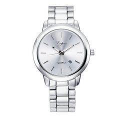 Women's Womens 18K Gold Plated Classic Calender Quartz Watch ($20) ❤ liked on Polyvore featuring jewelry, watches, jewelry & watches, white gold, women's watches, gold plated watches, 18 karat gold jewelry, 18 karat gold watches, 18k gold plated jewelry and gold plated jewelry