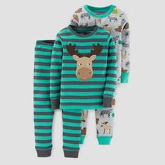 Featurestop Baby Long Sleeve Plaid Christmas Fawn One Piece Pajamas