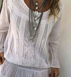 Beautiful white top with lace, embroidery